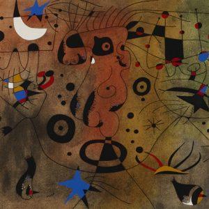 joan-miró-femme-à-la-blonde-aisselle-coiffant-sa-chevelure-à-la-lueur-des-étoiles-(from-the-constellations